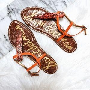 Sam Edelman GIGI Orange Snake Thong Sandals Sz 9M